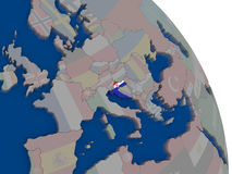 Croatia with flag on globe Stock Images