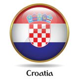 Croatia Flag with gold frame & bevel stock photography