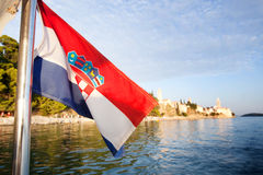 Croatia Flag and Landscape Stock Photography