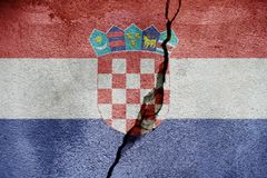 Croatia   FLAG PAINTED ON CRACKED WALL nice Royalty Free Stock Photography