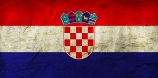 Croatia Flag on Paper. Flag on an old Paper Texture Stock Photo