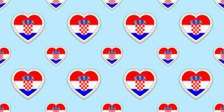Croatia flag seamless pattern. Vector Croatian flags stikers. Love hearts symbols. Texture for language courses, football, sports royalty free illustration
