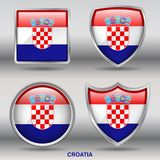 Croatia Flag in 4 shapes collection with clipping path stock image