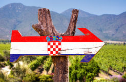 Croatia Flag wooden sign with winery background Royalty Free Stock Photo