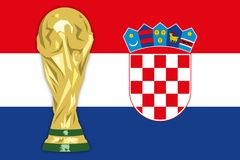 Croatia flag and world cup, vector illustration. Croatian flag, finalist Russia 2018 world cup of football, vector illustration stock illustration