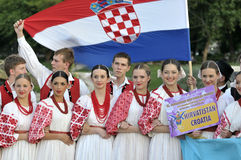 Croatia folk dance team. 11 this year by the Denizli Municipality The festival began with a march of stay at the International Folk Dance Festival, the dancers royalty free stock image
