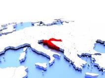 Croatia on globe. Croatia in red color on simple elegant political globe. 3D illustration royalty free illustration