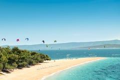 Croatia golden horn kitesurfing Royalty Free Stock Photography