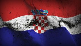 Croatia grunge dirty flag waving on wind. Croatian background fullscreen grease flag blowing on wind. Realistic filth fabric texture on windy day Stock Image