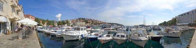 The bright and cheery Hvar Boat Quay stock photos