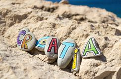 Croatia inscription arranged with painted letters on the stones Royalty Free Stock Image