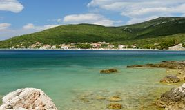 Croatia island Cres. Adriatic sea. In Summer. View of Martinscica, small fisherman village on Cresnisland in Croatia. Summer travel background journey royalty free stock photo