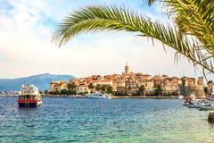 Free Croatia - Island Korcula. The Historic Town Of Korcula And Palm Leaf. Stock Images - 88922284