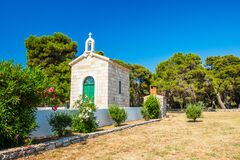 Free Croatia, Island Of Dugi Otok, Old Stone Church Of Veli Rat Stock Image - 185779201