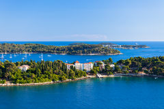 Croatia Islands and Adriatic Sea. Aerial View from Rovinj Belfry Stock Photos