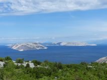 Islands by Croatia Coast. Croatia Islands near to the Coastline in Adratic sea Stock Images