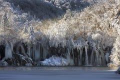 croatia jezior plitvice śniegu zima Fotografia Royalty Free