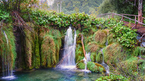 croatia lakesplitvice Vattenfall nationalparkbana yosemite royaltyfria bilder