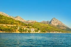 Croatia - Makarska riviera - Coastal landscape. Croatian Dalmatian landscape. Tourist attractions and towns of Makarska Riviera. Dalmatia view from the sea side stock photos