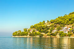 Croatia - Makarska riviera. Croatian Dalmatian landscape. Tourist attractions and towns of Makarska Riviera. Dalmatia view from the sea side stock photos