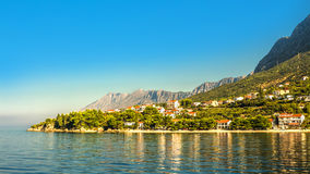 Croatia - Makarska riviera - Podaca. Croatian Dalmatian landscape. Tourist attractions and towns of Makarska Riviera. Dalmatia view from the sea side royalty free stock photography