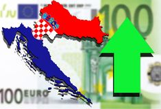 Croatia map on Euro money background and green arrow up Stock Photo