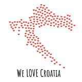 Croatia Map with red hearts - symbol of love. abstract background. Croatia Map with red hearts- symbol of love. abstract background with text We Love Croatia Stock Images