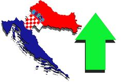 Croatia map on white background and green arrow up Stock Image