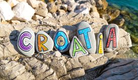 Croatia name made of painted stones on sea background Stock Photography