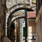 Croatia - Omis. In Dalmatia. Old town view. Square composition stock photography