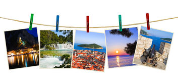 Croatia photography on clothespins Stock Photos