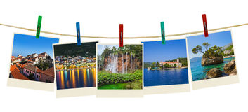Croatia photography on clothespins Stock Images