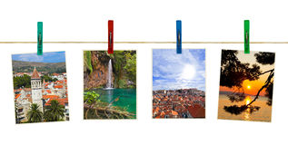 Croatia photography on clothespins Royalty Free Stock Images