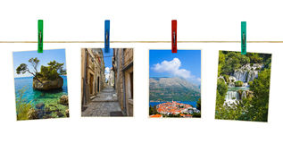 Croatia photography on clothespins Royalty Free Stock Photography