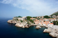 Croatia, port town, aerial view. Royalty Free Stock Photos
