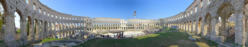 The ancient Roman Amphitheatre in Pula stock photography