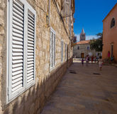 Croatia , Rab City narrow streets Royalty Free Stock Photos