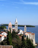 Croatia, Rab island, Rab town. View from St. John campanile towards the end of the peninsula and old town Royalty Free Stock Image