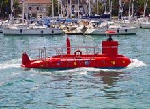 Croatia, red semi submarine Stock Photos