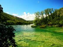 Croatia. River, clear water, green bottom. royalty free stock photography