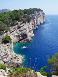 Croatia rocks. Scenic view on Croatia rocks and the blue Adriatic sea Stock Photos