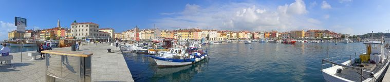 The Rovinj Harbor on a cool, crisp autumn day stock photo