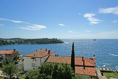 Croatia. Rovinj. Roofs of old town and the sea horizon Stock Images