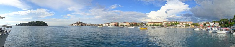 A sweeping view of the Rovinj south harbor stock photography