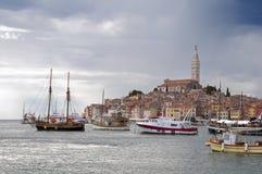 Croatia -  Rovinj - Ships at port and city Stock Photos