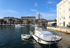 Croatia`s port in Split on a clear day. stock photography