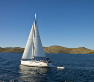 Croatia: sailboat at Kornati islands. Croatia, Kornati. Sailboat cruises along Kornati archipelago. Most of the islands of the Kornati archipelago are deserted Royalty Free Stock Photography