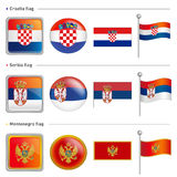 Croatia and Serbia, Montenegro Flag Icon. The world national Ico Stock Image