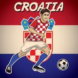 Croatia soccer player with flag background Stock Photos