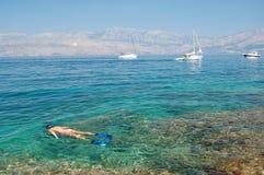 croatia som snorkelling Royaltyfria Foton